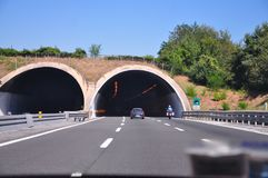 Just before entering a highway tunnel near Florence stock photo