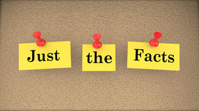 Just the Facts Basic Information Bulletin Board Stock Images