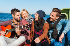 Just friends and guitar. Royalty Free Stock Photo