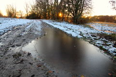 Just frozen puddle Royalty Free Stock Photos
