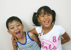 Just for fun!. Two asian children Royalty Free Stock Image