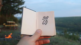 Just go. Book with the inscription. stock video footage