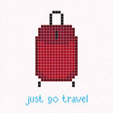 Just go Travel! Pixel art postcard. Red suitcase. Stock Photography