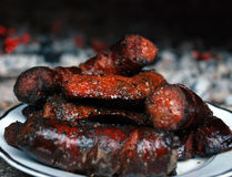 Just grilled sausages Royalty Free Stock Image