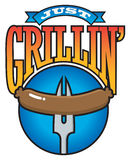 Just Grillin' Barbecue Party Graphic Stock Images
