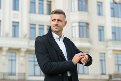 Free Just In Time. Handsome Man Wear Luxurious Watch Urban Background Defocused. Symbol Of Success. Business People Concept Stock Photography - 167070002