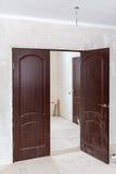 Just installed door in door opening filled with foam Stock Image