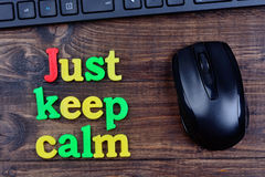 Just keep calm words on table Stock Photography