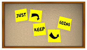 Just Keep Going Progress Move Forward Achieve Goal. Sticky Notes royalty free illustration