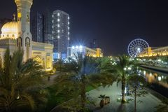 Sharjah, United Arab Emirates, promenade. Just 20 kilometers from Dubai is the Emirate of Sharjah: in 1998, UNESCO recognized it as the cultural capital of the stock image