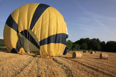 Just landed in wheat field, Provence, France. Ballon ride is over, what a unique experience, Alpes de Haute Provence stock photography