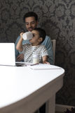 Just like daddy does Royalty Free Stock Photos