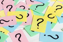 Just a lot of question marks on colored papers.  Royalty Free Stock Image