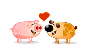 Just love. Pig and dog in love, caricature Stock Photo