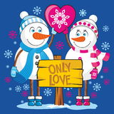 We just love snowmen winter Royalty Free Stock Images