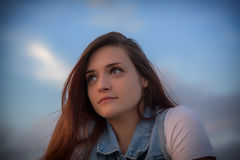 Just Lovely. Portrait of a Young Lady with contemplative expression Royalty Free Stock Images