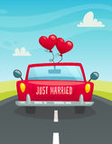 Just maarried car with balloons, back view, wedding concept, cartoon vector illustration Royalty Free Stock Photography