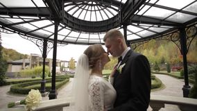 Just marrie couple stand on the beautiful balcony. Stylish people.  stock video footage
