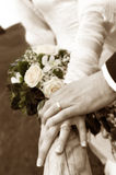 Just married. Selective focus on rings Royalty Free Stock Image