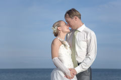 Just married. Bride and groom on the beach Stock Photo