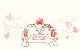 Just married. Wedding automobile with hearts Royalty Free Stock Photo