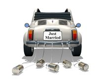 Just married. (3D Rendered small car with the cans