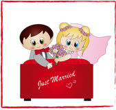 Just married. Illustration with wedding couple just married Stock Photos