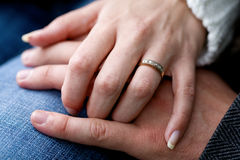 Just married. A closeup of a man and woman hands Royalty Free Stock Images