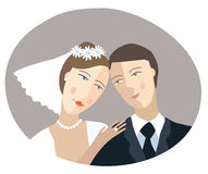 Just married. The groom and the bride.  illustration Royalty Free Stock Photography