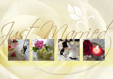 Just married. Card with bride,  bridegroom and rose Stock Images