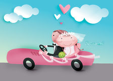 Just married. We were driving on a sport car when we just married vector illustration