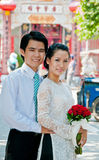 Just Married. A bride and groom newly married in Hoi An, Vietnam Stock Images