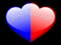 Just married. Couple aqua style heart shape stock illustration