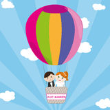 Just married. Illustration of bride and groom on a colorful hot air ballooon. Vector Stock Photos