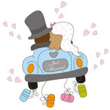 Just married. Illustration of a just married couple in a retro style car, isolated on white Stock Photography