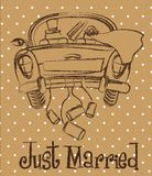 Just married. Car over brown background, grunge. vector illustration Stock Photos