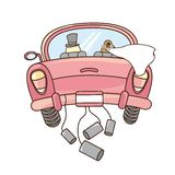 Just married. Car isolated over white background. vector illustration Stock Photo