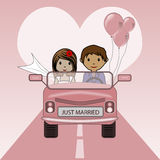Just married. Vector illustration of an couple on honeymoon trip Royalty Free Stock Photos