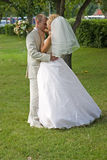 Just married. Newlywedses hug one another in park Stock Photography