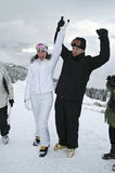 Just married. In a winter wonderland on top of the slopes Stock Photos