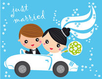Just married. Illustration of just married couple in car on a blue background Stock Image