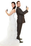 Just married in argue. Stock Photo
