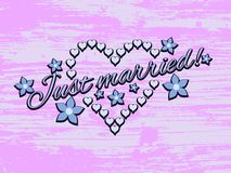 Just married background with hearts Stock Image