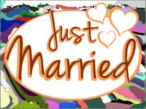 Just married background with hearts Royalty Free Stock Image