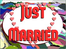 Just married background with hearts Stock Images
