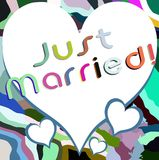 Just married background with hearts Royalty Free Stock Photos