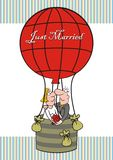 Just Married, balloon, card Royalty Free Stock Images