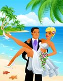 Just married on beach. Just married couple on beach background Royalty Free Stock Images