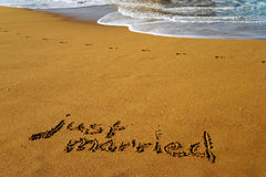 Just married. Beach with the words just married Royalty Free Stock Photo