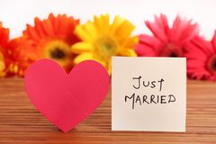 Just married. Beautiful shot of just married written on white chit royalty free stock photos